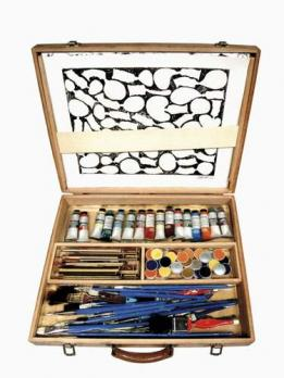 ARMAN (1928-2005) - PAINT BOX, 1970  A rame painter wooden paintbox