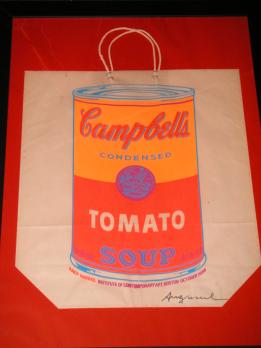 Andy WARHOL - Campbell's Soup Shopping Bag, 1966, Sérigraphie signée sur sac