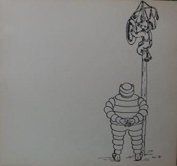 Dessin Publicité Michelin Années 1920 Bibendum Garde Post
