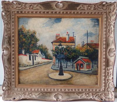 Elisée MACLET - Old square in Montmartre, signed oil on panel