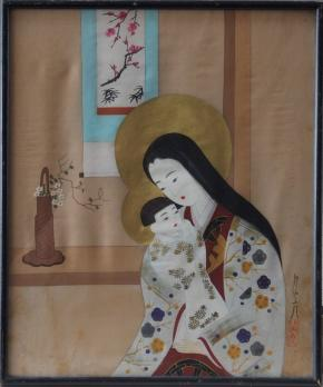Ishikawa KIYOHIKO - Mother and child, signed gouache and golden ink on silk