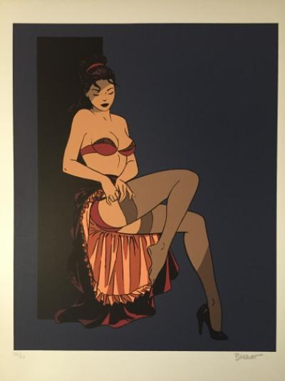 Philippe BERTHET - Pin-up aux bas, 1995, Lithographie