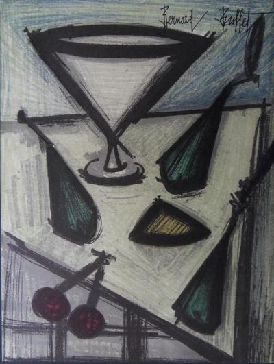 Bernard BUFFET :  Nature morte aux fruits, 1967, Lithographie originale signée