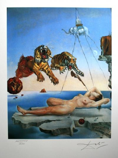 Salvador DALI (1904-1989) (d'après) - Dream Caused by the Flight of a Bee around a Pomegranate a Second before Awakening, 1988, Lithographie
