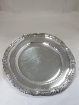 Round dish, filet model, in solid silver, RISLER et CARRE