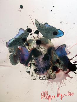 Philippe PASQUA (1965-) - Vanity - Skull, 2010, Signed mixed media