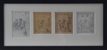 Jean-Emile LABOUREUR - Women in the lounge, four original drawings, signed