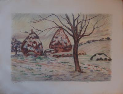 Armand GUILLAUMIN - The haystacks in winter at Palaiseau, original signed lithograph