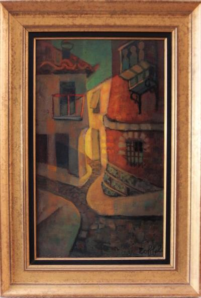 Louis TOFFOLI - Old street at Ibdes, original signed painting, framed