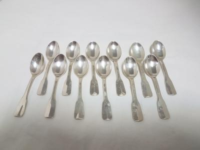12 mocca spoons in solid silver, uniplat model