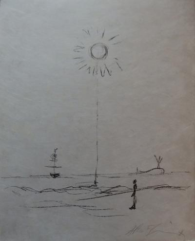 Alberto GIACOMETTI - Man standing facing the sea, original lithograph signed in pencil