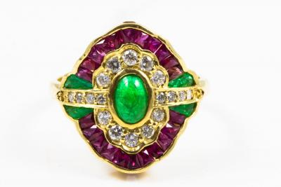 Ring in 750 yellow gold (18 Kt) EMERALD RUBY and DIAMONDS