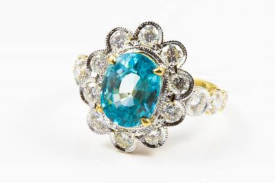 BAGUE en or jaune et or blanc 750 ( 18 KT ) NATUREL ZIRCON bleu du Cambodge et DIAMANTS - GARANTI par CERTIFICAT GEMMOLOGIQUE 2