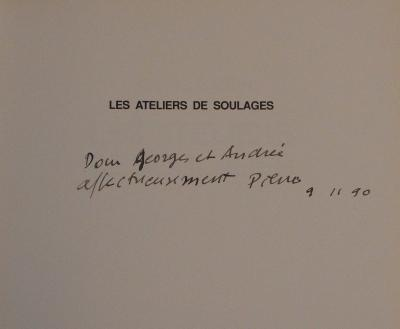 Pierre Soulages - Beautiful autographed dedication in ink - Signed (1990)