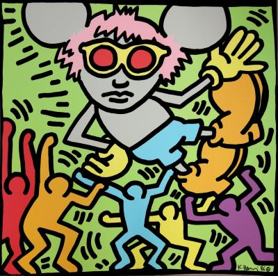 Keith HARING (d'après) : Andy Mouse with People - lithographie signée