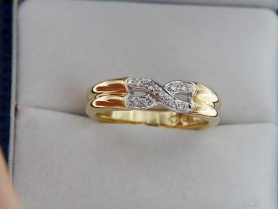 18K GOLD Bicolour Ring with Diamonds
