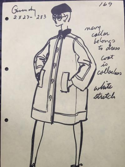 Hubert De Givenchy - Croquis Givenchy.Manteau white stretch 2