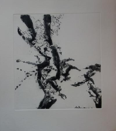 Zao WOU-KI : Abstract Composition, 1996, original engraving with aquatint