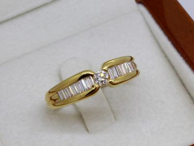 Bague OR 18 Carats sertie de 18 Diamants 2