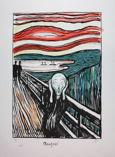 EDVARD MUNCH - THE SCREAM 1895 - HANDSIGNED & NUMBERED LITHOGRAPH