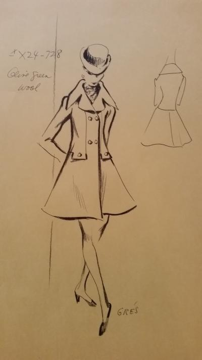 Madame Grès - Croquis veste - Olive green wool
