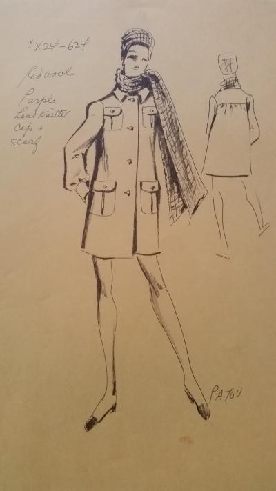 Jean Patou - Croquis veste - Red Wool 2