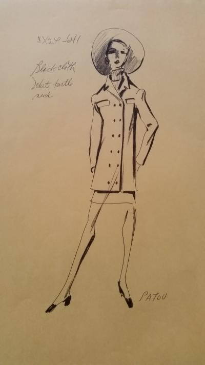 Jean Patou - Croquis tailleur jupe - Black cloth white turtle neck
