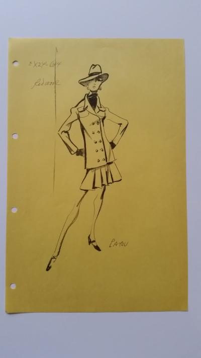 Jean Patou - Croquis tailleur jupe - Red wool