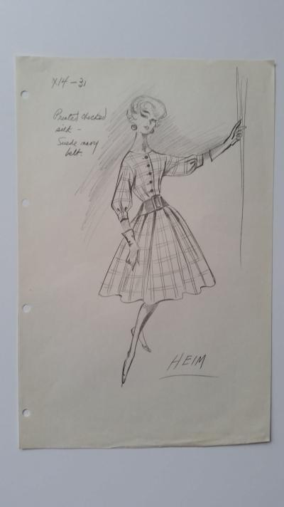 Jacques Heim - Very beautiful sketch for checkered dress in silk with daim navy belt