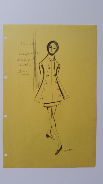 Philippe Venet - Croquis tailleur jupe - Grange wool with stockings to match and brown hood