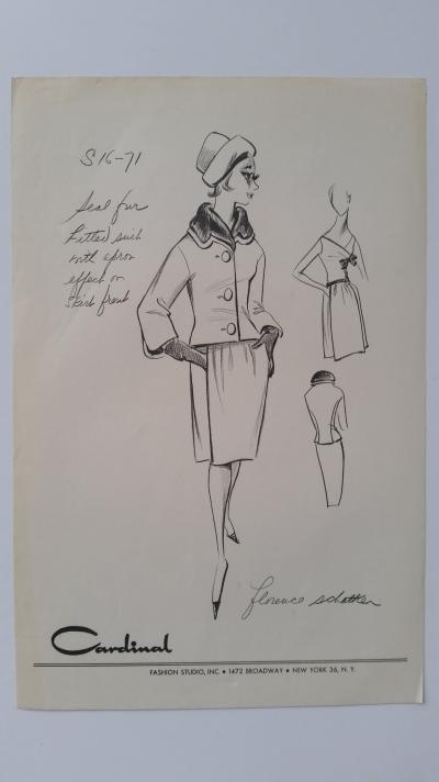 Florence Schatken - Croquis tailleur jupe - Seal fur fitted suit 2