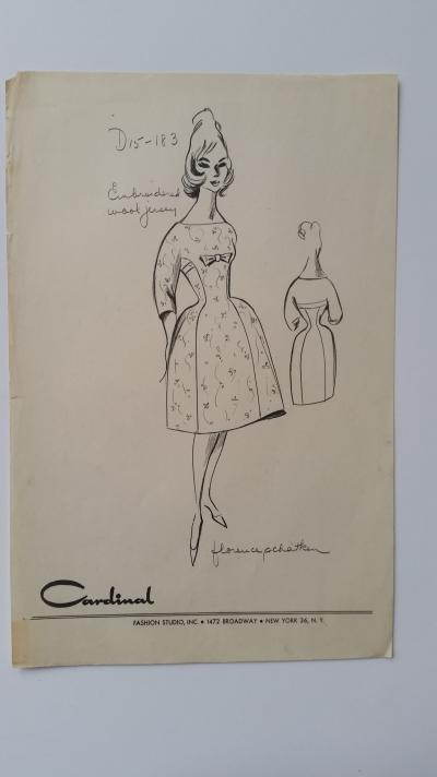 Florence Schatken - Croquis robe - Embroidered wool jersey 2
