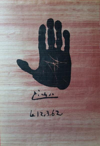 Pablo PICASSO - Hand of the artist, original signed lithograph (circa 1962)