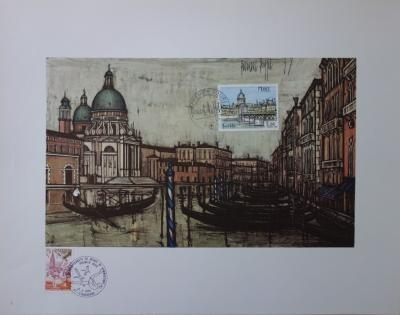 Bernard Buffet - The Grand Canal of Venice, Illustration with Stamp ...