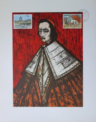 Bernard Buffet: The Cardinal de Richelieu, illustration decorated with the stamp and the signature stamp (1978