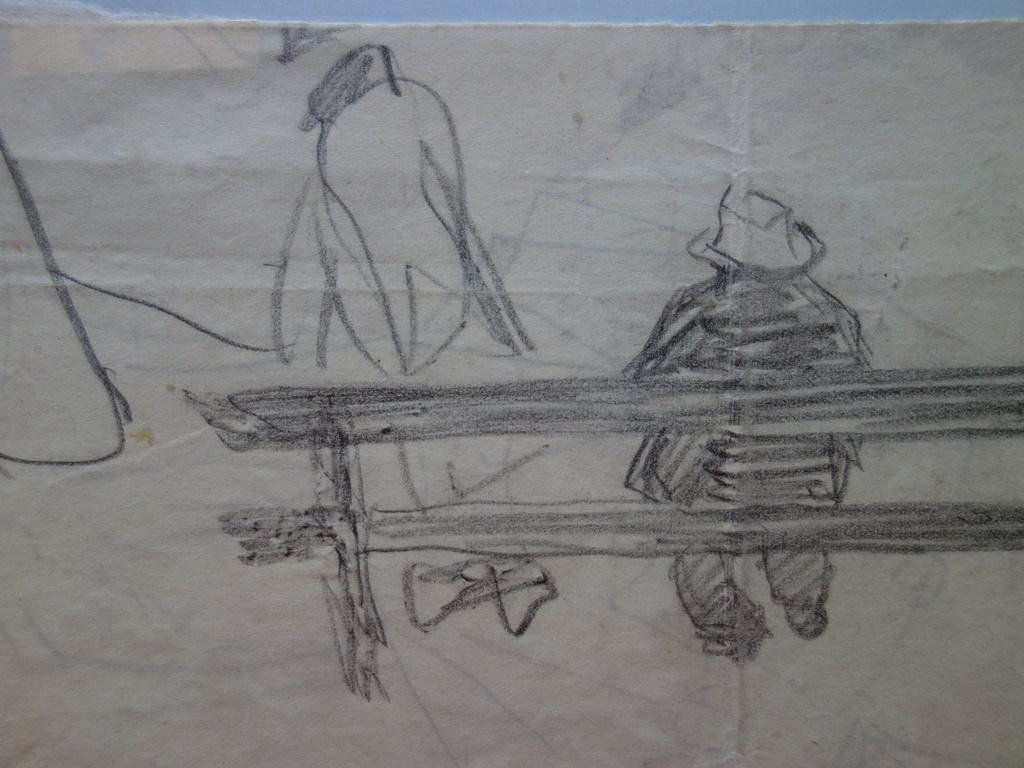 demetrios galanis assis sur un banc dessin original sign post war modern art. Black Bedroom Furniture Sets. Home Design Ideas