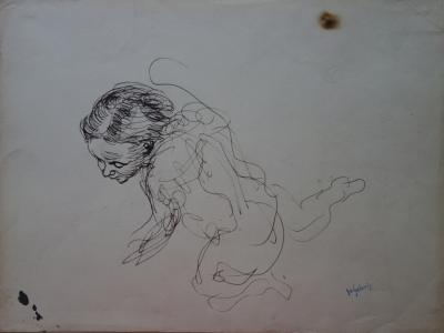 Demetrios Galanis Etude De Modele A Genoux Dessin Original Signe