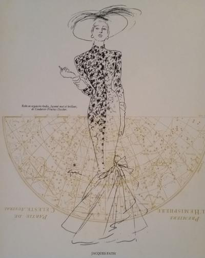 René Gruau - Engraving created for the haute couture house Jaques Fath, 1946