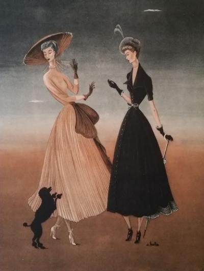 André Barlier - Illustration for the haute couture houses Jean Patou and Nina Ricci
