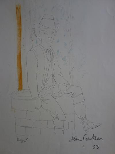 Jean COCTEAU - Man seated on a well, original signed lithograph
