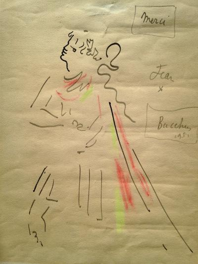 Jean COCTEAU - Bacchus, signed drawing