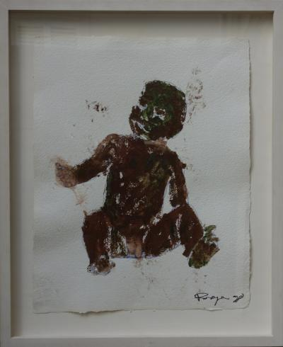Philippe Pasqua - Seated child, gouache on paper, signed