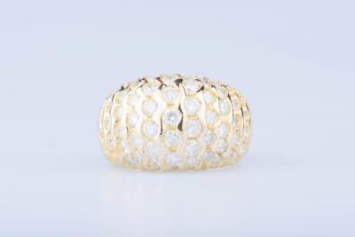 Bague en or jaune 18 ct 20 diamants env. 0,60 ct au total 24 diamants env. 1,20 ct au total 17 diamants env. 1,70 ct au total