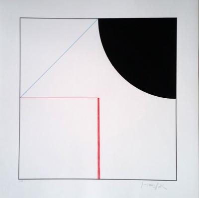 Gottfried Honegger - Composition Cercle et Carré (noir, rouge) 2