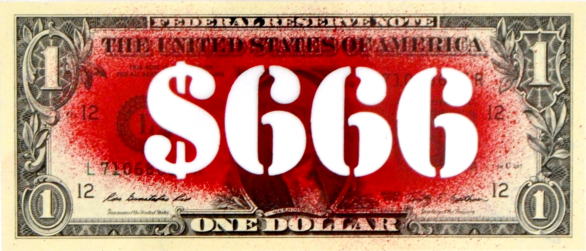 Death nyc 666 red 1 banknote dat 2013 et sign au for Unique dates in nyc