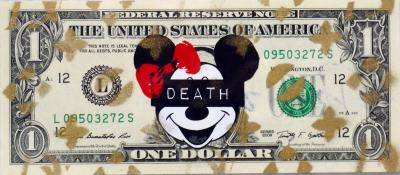 Death NYC - Mouse Death ($ 1 Banknote), dated 2013 and signed on the back - Unique work