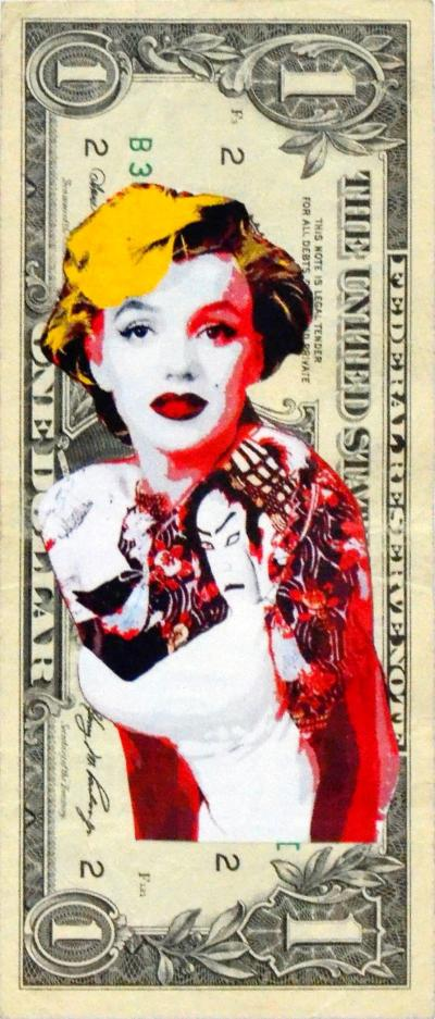 Death NYC - Marilyn Tattoo ($ 1 Banknote), dated 2013 and signed on the back - Unique work