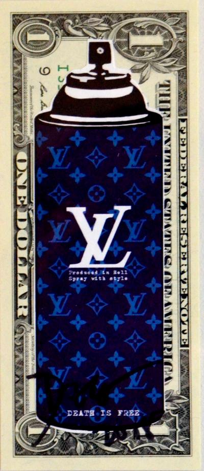 Death NYC - Spray Purple LV ($ 1 Banknote), dated 2013 and signed on the back - Unique work