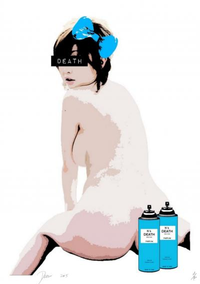 Death NYC - Girl Post Spray Blue - Original screenprint signed and numbered - (Edition limited of 100 proofs)