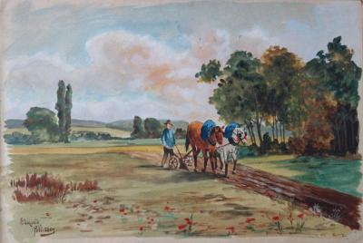 Edmond PELLISSON : Le labour à cheval - Aquarelle originale signée - c. 1902 2